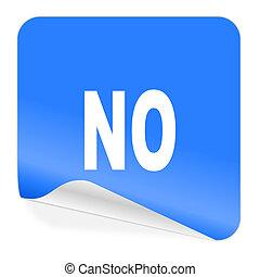 não, azul, adesivo, ícone