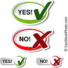 não, cheque, botão, -, marca, vetorial, oval, sim, símbolo