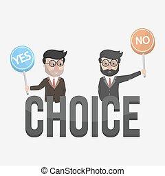 não, dois, escolha, homem negócios, sim, ou