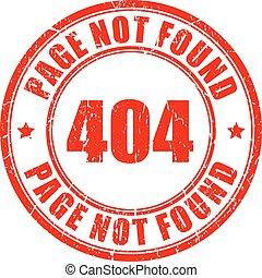 não, encontrado, 404, página, selo