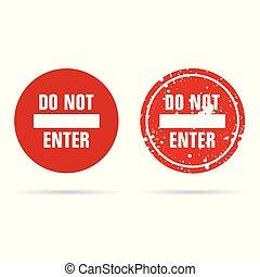 não, entrar, vermelho, ilustração, sinal
