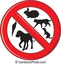 não, este, área, prohib, animais estimação, permitido