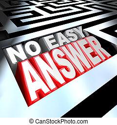 não, fácil, resposta, palavras, em, 3d, labirinto, problema,...