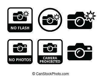 não, flash, cameras, fotografias, ícones