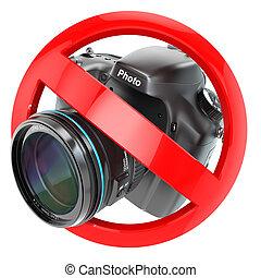 não, fotografia, sinal., câmera foto, proibição