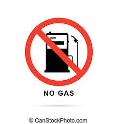 não, gasolina, gás, sinal, bomba, vetorial