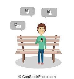 não, móvel, jovem, triste, telefone, segurando, mensagem, sinal, homem