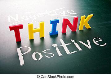 não, negativo, pensar, positivo