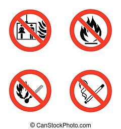não, partidas, lift., chama, abertos, fumar
