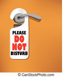 não, perturbar, madeira, porta, sinal
