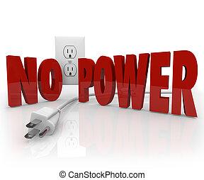 não, poder, palavras, cabo elétrico, saída, electricidade,...