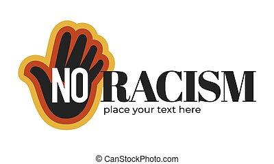 não, racismo, isolado, escuro, palma, pele, ícone