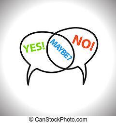 não, talvez, ícones, vetorial, fala, texto, bolhas, sim