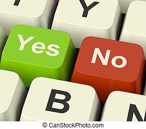 não, teclas, representando, incerteza, online, sim, decisões