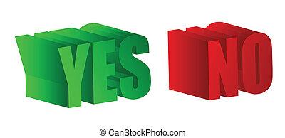 não, texto, verde, palavras, sim, vermelho