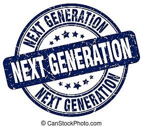 nächste generation, blaues, grunge, briefmarke