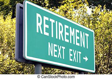 nächste, -, pensionierung, gehen zeichen
