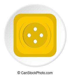 nähen, taste, quadrat, ikone, gelber , kreis