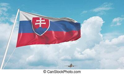 nähert, slowake, verkehrsflugzeug, flag., tourismus, slowakei