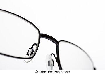 nära, avbild, ögon, uppe, glasögon