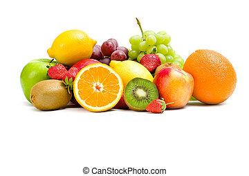 nära, frukt, skott, uppe, hög