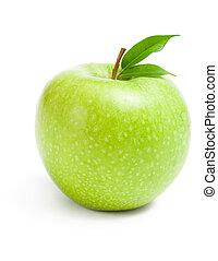 nära, grönt äpple, uppe