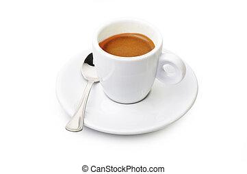 nära, kaffe, vit, uppe, kopp