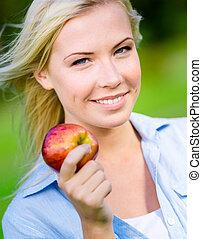 nära, kvinna, äpple, blond, uppe