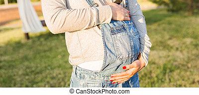 nära, söt, uppe, mage, gravid