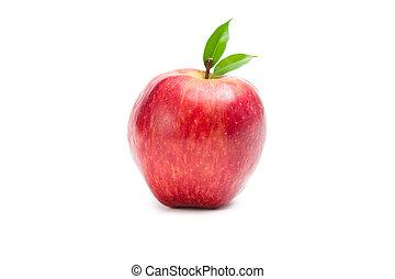 nära, synhåll, äpple, röd, uppe