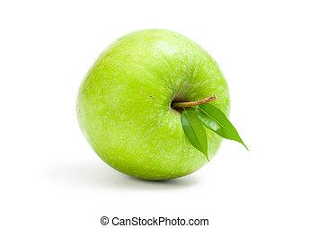 nära, synhåll, grönt äpple, uppe