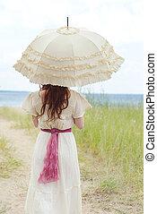 närbild, årgång, kvinna, strand, parasoll