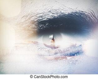 närbild, ögon, dubbel, effects., visuell, mänsklig, horisontal, exponering