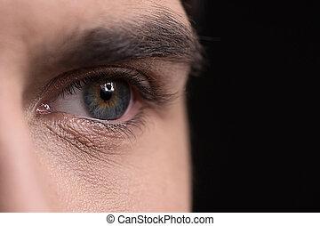 närbild, ögon, isolerat, svart, mänsklig, eye.