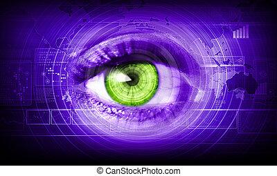 närbild, ögon, mänsklig