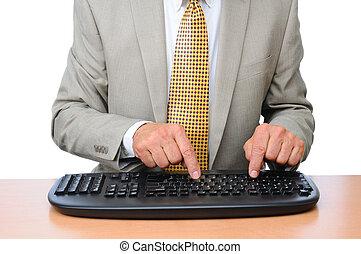 närbild, affärsman, maskinskrivning