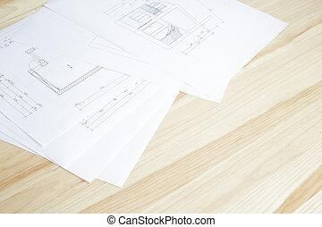 närbild, arkitektur, blueprint.