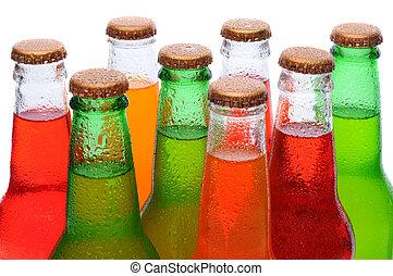 närbild, asssorted, soda, flaskor
