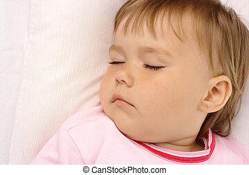 närbild, av, a, sovande barn