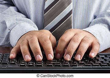 närbild, av, affärsman, maskinskrivning