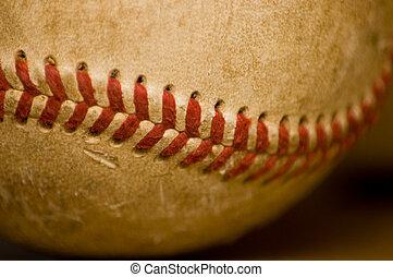 närbild, av, baseboll kula