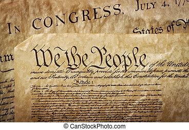 närbild, av, den, u.s., konstitution