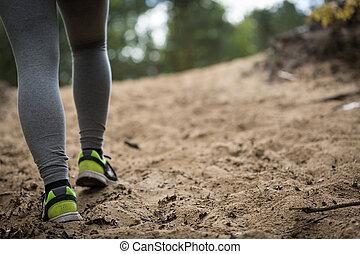 närbild, av, fötter