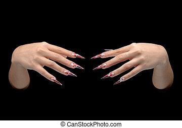 närbild, av, hand, av, ung kvinna, länge, nail-art, manikyr,...