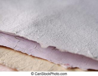 närbild, av, handgjord, papper
