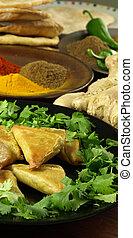 närbild, av, indian mat