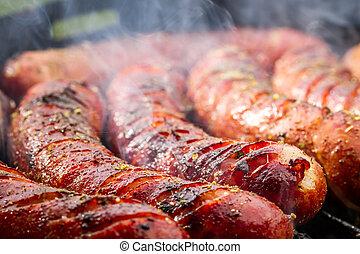 närbild, av, korv, på, den, grill