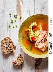 närbild, av, lax, soppa, med, gräslök