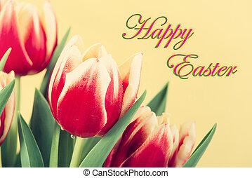 närbild, av, röda och gula, tulpaner, med, glad påsk, text