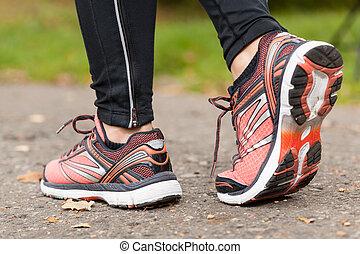 närbild, av, skor